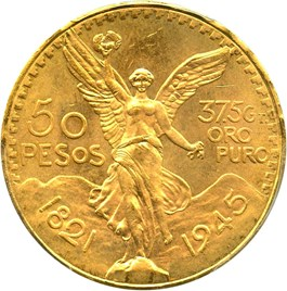 Image of Mexico: 1945 Gold 50 Peso PCGS MS65 (KM-481)