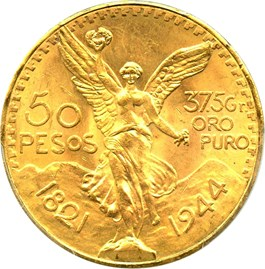 Image of Mexico: 1944 Gold 50 Peso PCGS MS64 (KM-481)