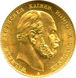 Image of Germany/Prussia: 1872-A Gold 10M NGC MS65 (KM-502)