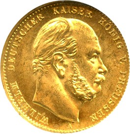 Image of Germany/Prussia: 1873-A Gold 10M NGC MS65 (KM-502)