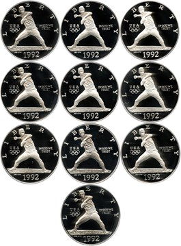 Image of Investor Lot of 1992-S Olympic Baseball $1: All PCGS Proof 69 DCAM (10 Coins) No Reserve!