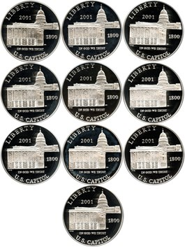 Image of Investor Lot of 2001-P Capitol Visitors Center $1: All PCGS PR69 DCAM (10 Coins) - No Reserve!