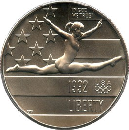 Image of 1992-P Olympic Gymnast 50c PCGS MS69