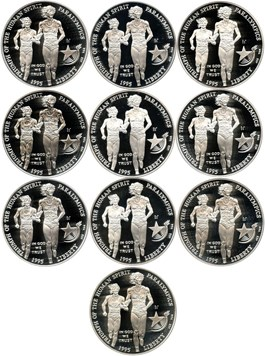 Image of Investor Lot of 1995-P Blind Runner $1: All PCGS PR69 DCAM (10 Coins) - No Reserve!