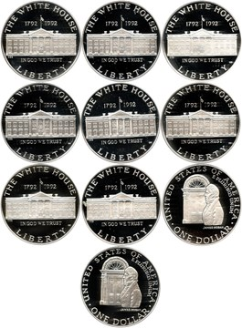Image of Investor Lot of 1992-W White House $1: All PCGS Proof 69 DCAM (10 Coins) No Reserve!