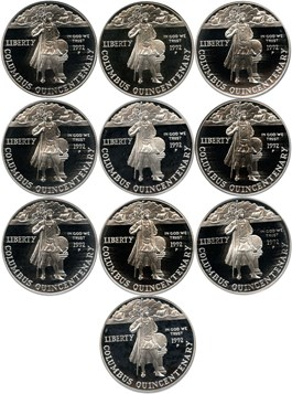 Image of Investor Lot of 1992-P Columbus $1: All PCGS Proof 69 DCAM (10 Coins) No Reserve!