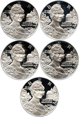 Image of Investor Lot of 1999-P Dolley Madison $1: All PCGS Proof 69 DCAM (5 Coins) - No Reserve!