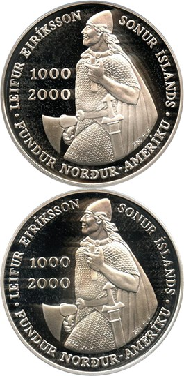 Image of Investor Lot of 2000 Iceland Leif Ericson 1000 K: All PCGS PR69 DCAM (2 Coins) - No Reserve!