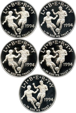 Image of Investor Lot of 1994-S World Cup $1: All PCGS Proof 69 DCAM (5 Coins) - No Reserve!
