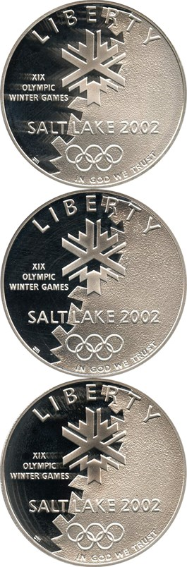 Image of Investor Lot of 2002-P Salt Lake City Olympics $1: All PCGS PR69 DCAM (3 Coins) - No Reserve!