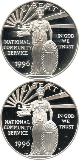 Image of Investor Lot of 1996-S Nat. Community Service $1: All PCGS PR69 DCAM (2 Coins) - No Reserve!