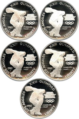 Image of Investor Lot of 1983-S Olympic $1: All PCGS Proof 69 DCAM (5 Coins) No Reserve!