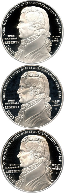 Image of Investor Lot of 2005-P Marshall $1: All PCGS Proof 69 DCAM (3 Coins) - No Reserve!