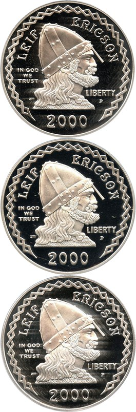 Image of Investor Lot of 2000-P Leif Ericson $1: All PCGS Proof 69 DCAM (3 Coins) - No Reserve!