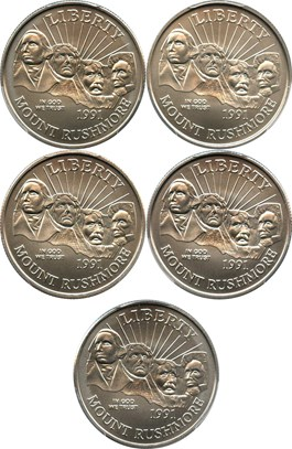 Image of Investor Lot of 1991-D Mt. Rushmore 50c: All PCGS MS69 (5 Coins) - No Reserve!