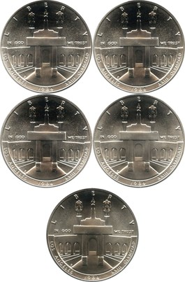 Image of Investor Lot of 1984-P Olympic $1: All PCGS MS69 (5 Coins) - No Reserve!