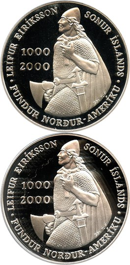 Image of Investor Lot of 2000 Iceland Leif Ericson 1000 K: All PCGS PR69 DCAM (2 Coins)