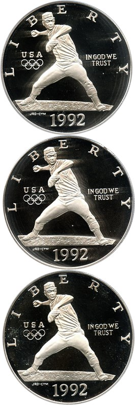 Image of Investor Lot of 1992-S Olympic Baseball $1: All PCGS Proof 69 DCAM (3 Coins) - No Reserve!