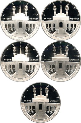 Image of Investor Lot of 1984-S Olympic $1: All PCGS Proof 69 DCAM (5 Coins) No Reserve!