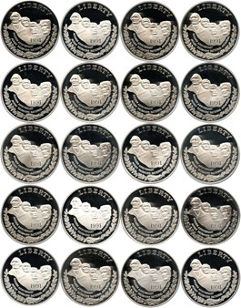 Image of Investor Lot of 1991-S Mt. Rushmore $1: All PCGS Proof 69 DCAM (20 Coins)