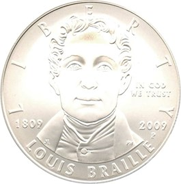 Image of 2009-P Louis Braille $1 PCGS MS69