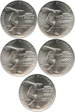Image of Investor Lot of 1983-D Olympic $1: All PCGS MS69 (5 Coins) No Reserve!