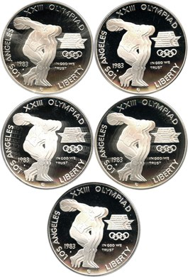 Image of Investor Lot of 1983-S Olympic $1: All PCGS Proof 69 DCAM (5 Coins) - No Reserve!