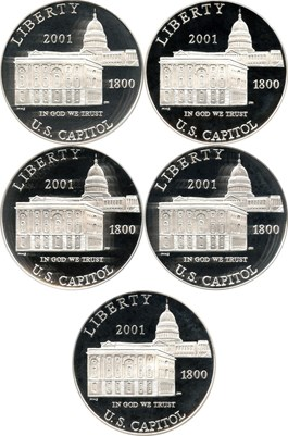Image of Investor Lot of 2001-P Capitol Visitors Center $1: All PCGS PR69 DCAM (5 Coins) - No Reserve!