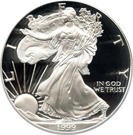 Image of 1999-P Silver Eagle $1 PCGS Proof 69 DCAM