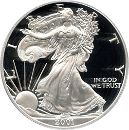 Image of 2001-W Silver Eagle $1 PCGS Proof 69 DCAM