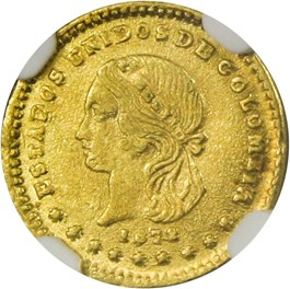 Image of Colombia: 1872 Gold Peso NGC MS64 (Medellin-Condor, KM-156)