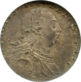 Image of Great Britain: 1787 6D NGC MS62 (Hearts in Shield, ESC-1629)