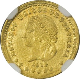 Image of Colombia: 1872 Gold Peso NGC MS63 (Medellin-Condor, KM-156)