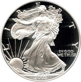 Image of 2003-W Silver Eagle $1 PCGS Proof 69 DCAM