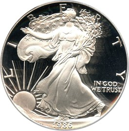 Image of 1986-S Silver Eagle $1 PCGS Proof 69 DCAM