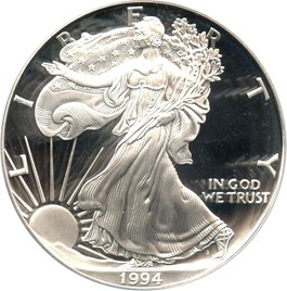 Image of 1994-P Silver Eagle $1 PCGS Proof 69 DCAM