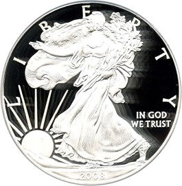 Image of 2008-W Silver Eagle $1 PCGS Proof 69 DCAM