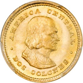 Image of Costa Rica: 1900 2 Colones PCGS Secure MS64 (KM-139)