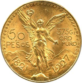 Image of Mexico: 1927 Gold 50 Peso PCGS MS64 (KM-481) 1.2056oz gold