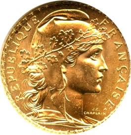 Image of France: 1909 Gold 20 Francs NGC MS64 (KM-857) 0.1867oz Gold