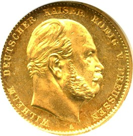 Image of Prussia: 1872-A Gold 10 Mark NGC MS65 (KM-502) 0.1152oz gold