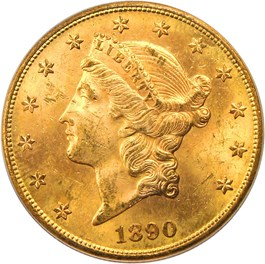 Image of 1890-S $20 PCGS MS63