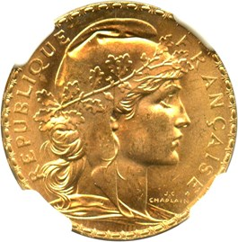 Image of France: 1909 Gold 20 Francs NGC MS66 (KM-857) 0.1867oz Gold