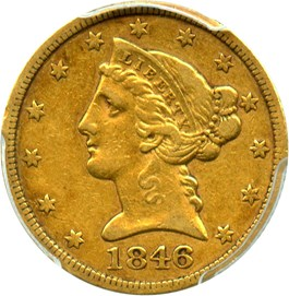 Image of 1846 $5 PCGS/CAC XF40 (Large Date)