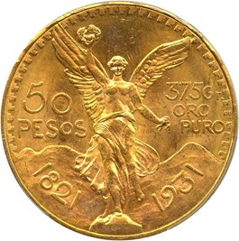 Image of Mexico: 1931 Gold 50 Peso PCGS MS64+ (KM-481) 1.2056oz gold