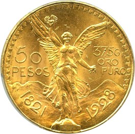 Image of Mexico: 1928 Gold 50 Peso PCGS MS64 (KM-481) 1.2056oz gold
