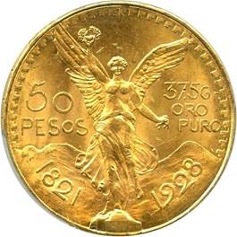 Image of Mexico: 1928 Gold 50 Peso PCGS MS64 (KM-481) 1.2056oz gold