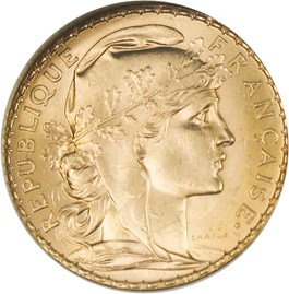 Image of France: 1909 Gold 20 Francs NGC MS64 (KM-857) 0.1867oz Gold