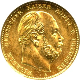 Image of Prussia: 1873 A Gold 10 Mark NGC MS65 (KM-502) 0.1152oz gold