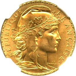 Image of France: 1909 Gold 20 Franc NGC MS66 (Angel, KM-857) 0.1867oz Gold